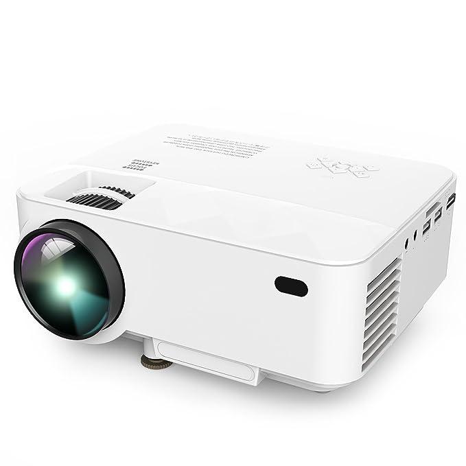 Proyector, Actualizado DBPOWER T21 Mini Proyector LCD de, Multimedia Home Theater Video Proyector de Apoyo 1080P HDMI USB Tarjeta TF VGA AV para ...