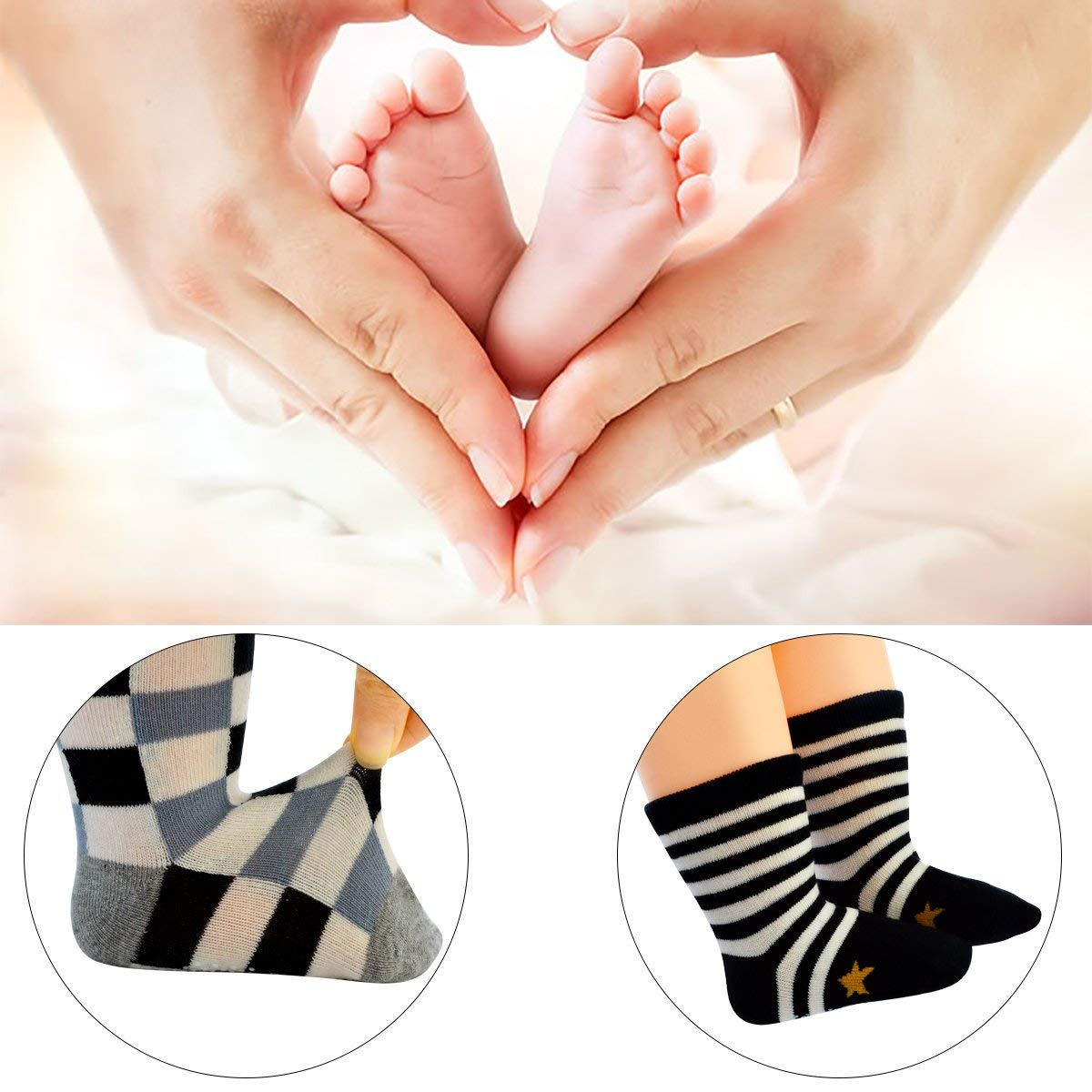 Poualss 6 Pairs Toddlers Socks,Anti Slip Ankle Cotton with Grips Ankle Socks for 12-36 Months Baby Toddlers