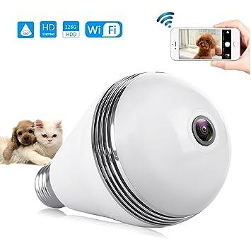 LED cámara lámpara Animales supervisión WiFi 360 ° Seguridad Bombilla E27 con aplicación mediante iPhone Samsung Smartphone vídeo para perro gato de amigo ...