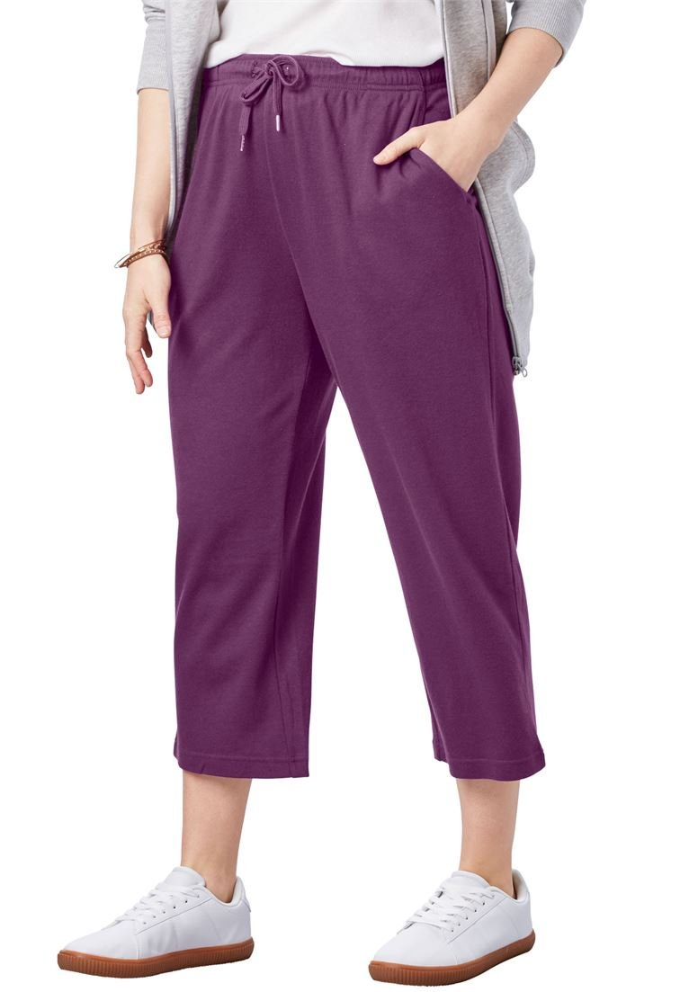 Woman Within Women's Plus Size Petite Sport Knit Capri Pant