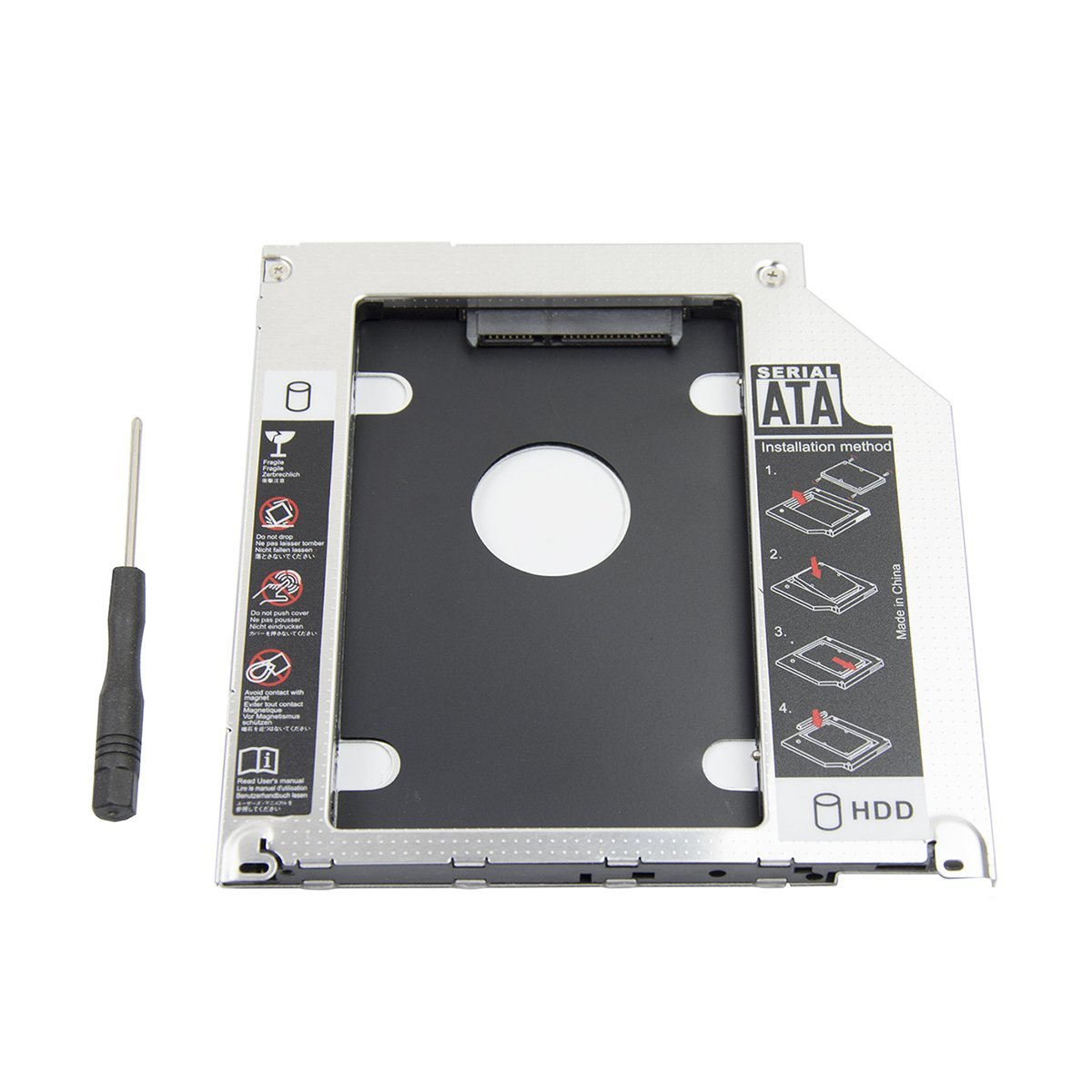 2nd 2.5'' SATA HDD SSD Hard Drive Disk DVD CD ROM Optical SuperDrive Caddy Tray Adapter for Apple Unibody MacBook/MacBook Pro 13 15 17 Early mid Late 2008 2009 2010 2011 2012.etc