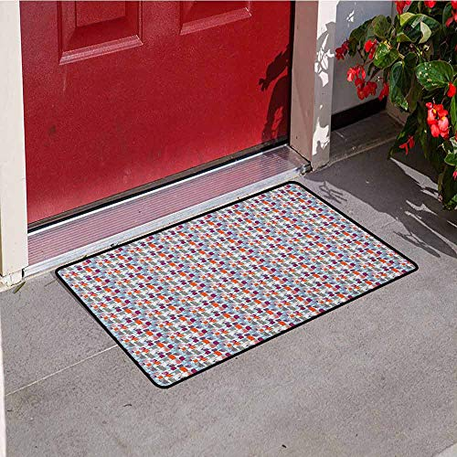 GloriaJohnson Abstract Universal Door mat Grunge Doodle Style Background with Colorful Vertical Paint Brush Strokes Effect Door mat Floor Decoration W23.6 x L35.4 Inch Multicolor