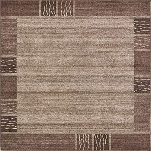 Unique Loom Del Mar Collection Contemporary Transitional Light Brown Square Rug 8 0 x 8 0