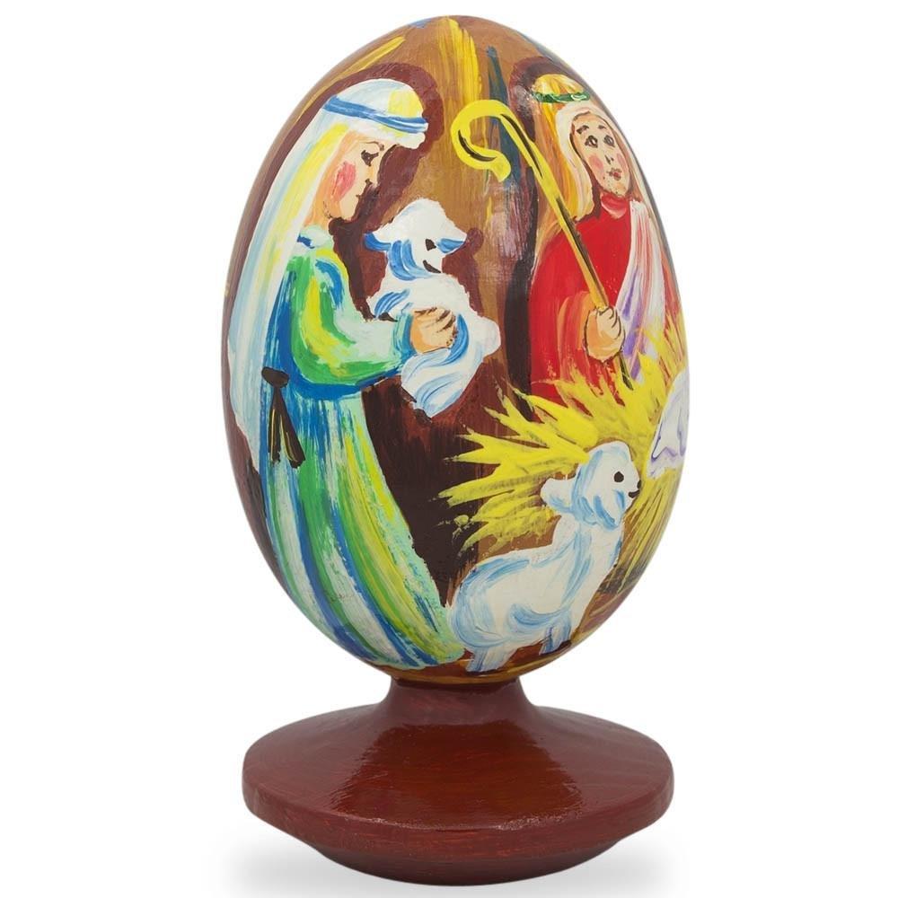 BestPysanky 3.5'' Nativity Scene with Angel and Lambs Wooden Figurine by BestPysanky (Image #2)