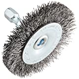 Forney 72727 Wire Wheel Brush, Coarse Crimped with 1/4-Inch Hex Shank, 2-Inch by .012-Inch