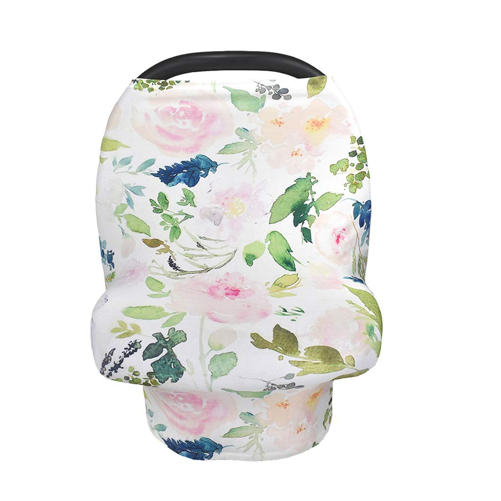 Baby Car Seat Stroller Canopy Nursing Cover for Newborn Cover Breastfeeding Multi Use Infant Unisex Baby High Chair Cover Shopping Cart Cover (Flower Leaves)
