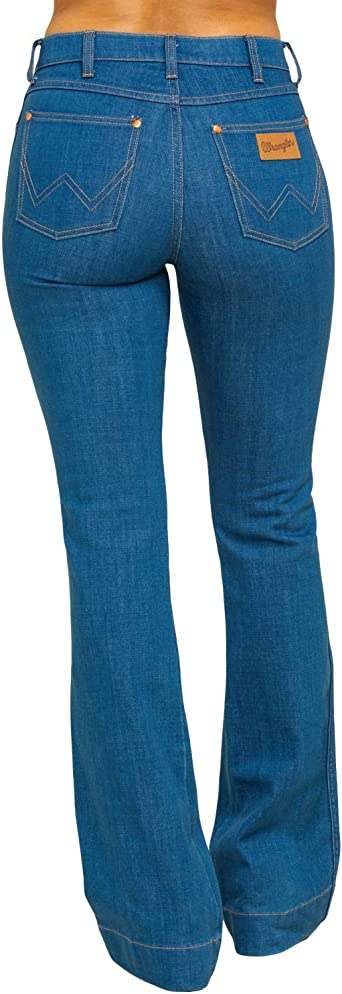 Amazon Com Wrangler High Rise Lowdip Enjuague Botin Jeans Wdhrblr Corte De Bota 24w X 34l Clothing