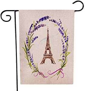 Capsceoll Garden Flag Outdoor 12.5X18 Inch,Double Sided French Lavender Wreath The Eiffel Tower Decorative Yard Flag for Outdoor Garden Yard