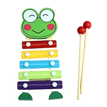 Orff Instruments Colorful Small Wooden Hammer Cartoon Sand Ball Knock Wooden Bell Baby Educational Toys Kids Best Gift Punctual Timing Maraca