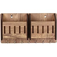 Sehaz Artworks 2-Pocket-Brown-KeyHolder Wooden Key Holder (7 Hooks)