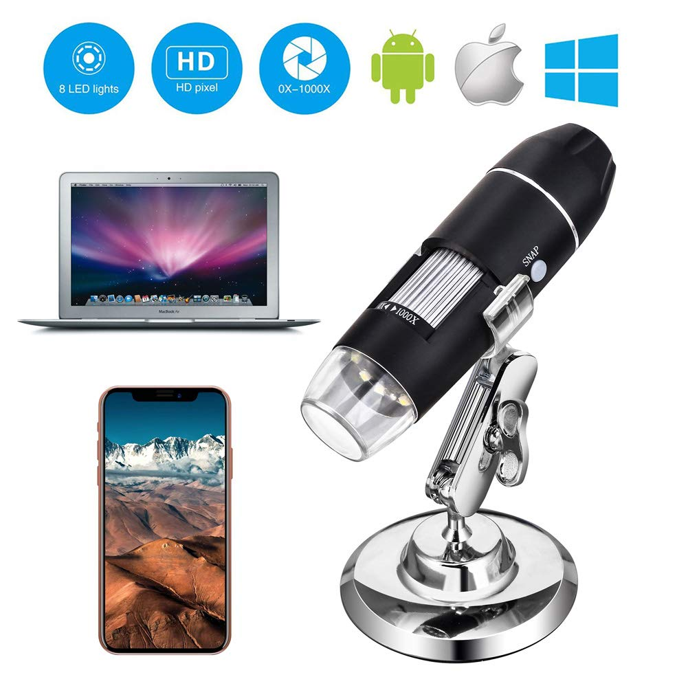 Widows by DigiHero Mini Camera Smeftelyy 885728 with Metal Stand USB Microscope 1000x Digital Handheld Microscope with 8 LED and 2 in 1 Micro USB Support for OTG Adapter Tablet iPhone Android Smartphone