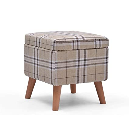 Genial Home Furniture Footstools Storage Ottoman Bench,Upholstered Footstool Linen  Fabric With 4 Wood Feet