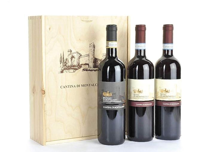 4821dc72e7 Regalo Vini in Cassetta Legno Cantina di Montalcino - 3 Bottiglie - Regalo  Vini Toscani di Qualità in Cassetta Legno Cod. 164: Amazon.it: Alimentari e  cura ...