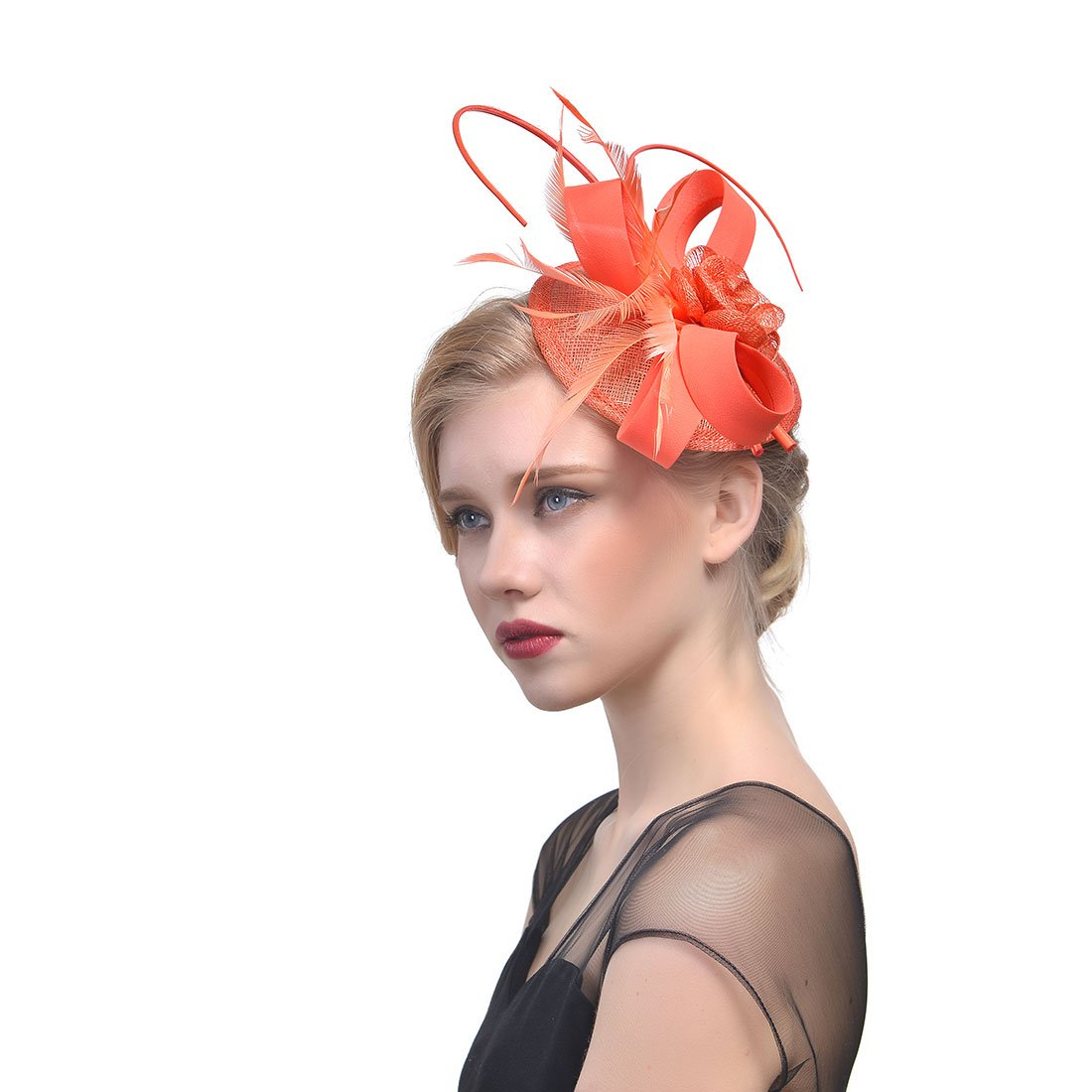 FeiYu Crafts Feather Fascinator With Diamond Fascinator Hat (A-Coral)