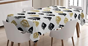 Ambesonne Trippy Tablecloth, Woman Eyes with Eyelash Unusual Style Fashion Modern Design Print Graphic, Rectangular Table Cover for Dining Room Kitchen Decor, 60