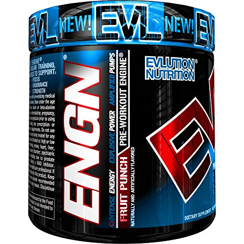 - Evlution Nutrition ENGN Pre-Workout, Pikatropin-Free, 30 Servings, Intense Pre-Workout Powder for Increased Energy, Power, and Focus (Fruit Punch)
