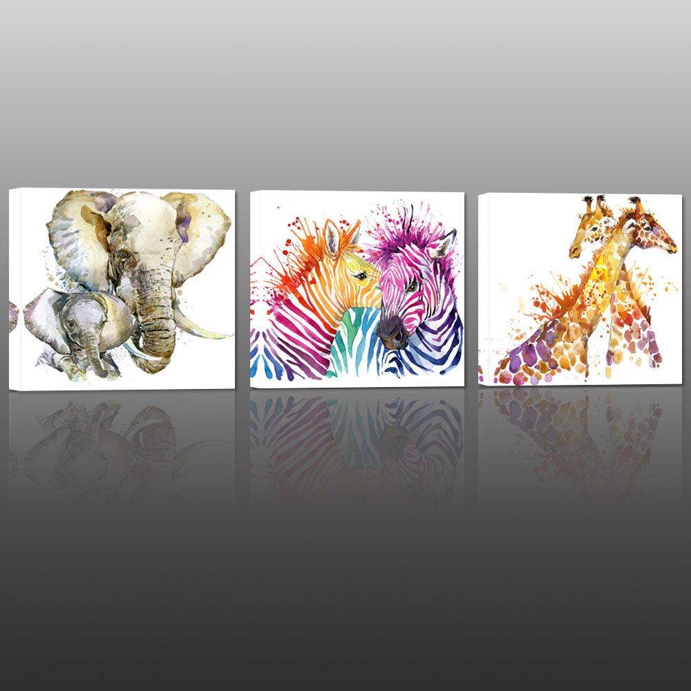 Visual Art Decor Abstract Animals XXlarge Canvas Wall Art Zebra Giraffe Elephant Wall Decal Art Lovely Animals Painting Prints Decor for Bedroom Living Room Classroom Gift for Kids (32''x32''x3pcs)