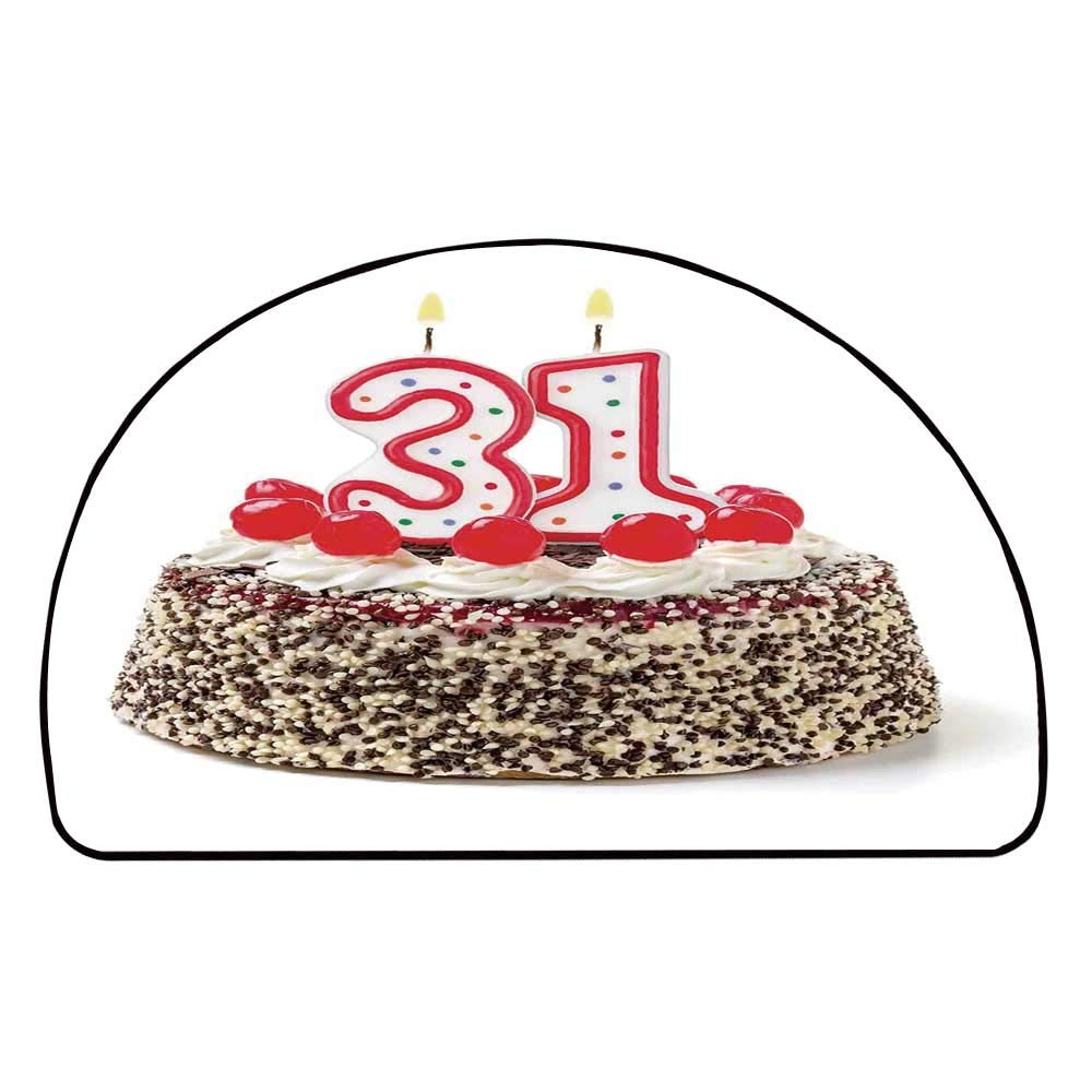 C COABALLA 31st Birthday Decorations Comfortable Semicircle Mat,Cake Thirty One Candles Chocolaty Desert Cherries Surprise Event for Living Room,29.5'' H x 59'' L