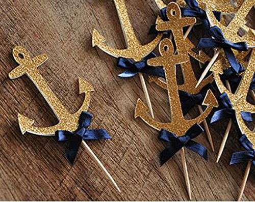 10 Pack Gold Glitter Anchor Cupcake Toppers with Blue Bow Anchor Cake Toppers for Birthday Party Baby Shower Decoration