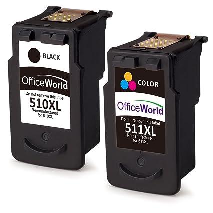 OfficeWorld PG-510XL CL-511XL Remanufacturado Canon PG-510 CL-511 Cartuchos de tinta Compatible con Canon Pixma MP240 MP250 MP260 MP270 MP272 MP280 ...