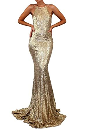 Formaldresses Sexy Gold Mermaid Evening Dress Prom Dress Open Back Halter Neck Formal Women Gown (