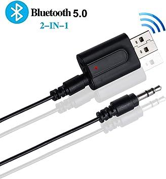 Yizhet 2-en-1 Adaptador Bluetooth Transmisor USB 5.0 Receptor con línea de Audio de 3.5 mm, Adaptador inalámbrico de transmisor Bluetooth para TV, PC, Auriculares, Sistemas de Sonido para automóviles: Amazon.es: Electrónica