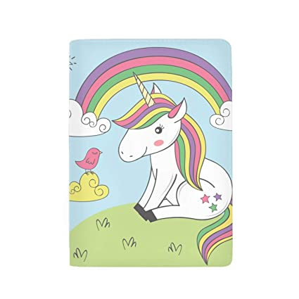 Unicorn In The Fantasy World Leather Passport Holder Cover Case Blocking Travel Wallet