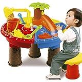 VeroMan 砂遊び 水遊び 子供 おもちゃ サンドテーブル 椅子付き 型抜きセット 室内 アウトドア 海水浴 ビーチ (ツリー-丸型)