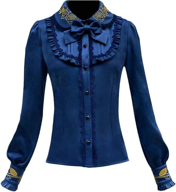 H&E Blusa para mujer bordada Lolita Slim Fit Victorian ...