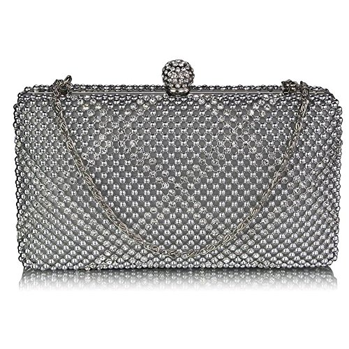 TrendStar Frau Kupplungs Taschen Damen Kristall Wulstige Abend Partei Hochzeit Handtaschen Silber 2