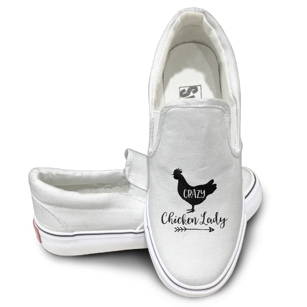 SH-rong Crazy Chicken Lady Unisex Canvas Sneakers Shoes Size 39 White