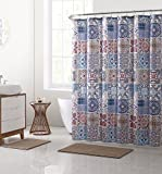 VCNY Home Azuleros Shower Curtain and Bath Rugs Set, 72x72, Taupe