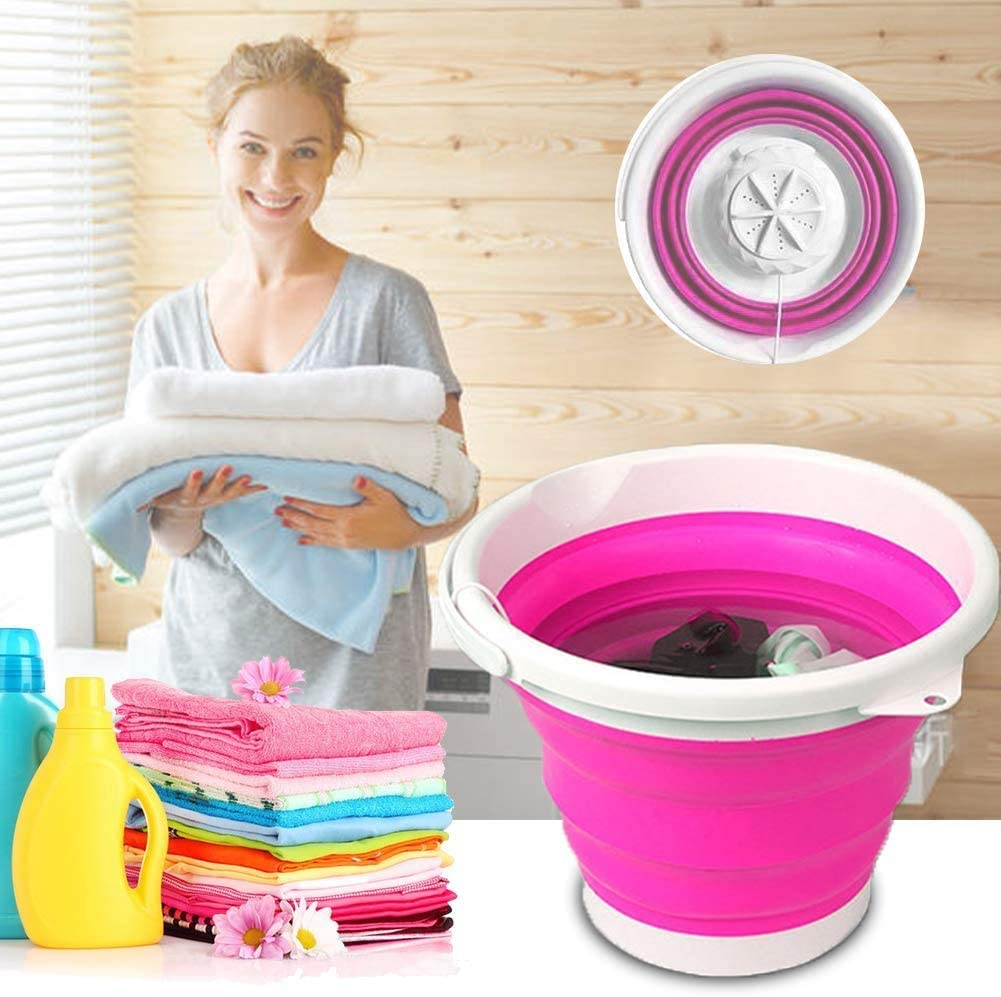 Mini Washing Machine for Camping Low Noise Folding Laundry Tub Machine Apartments Dorms Business Trip Ultrasonic Turbine Washer with Personal Rotating USB Cable HRLYL Portable Washing Machine