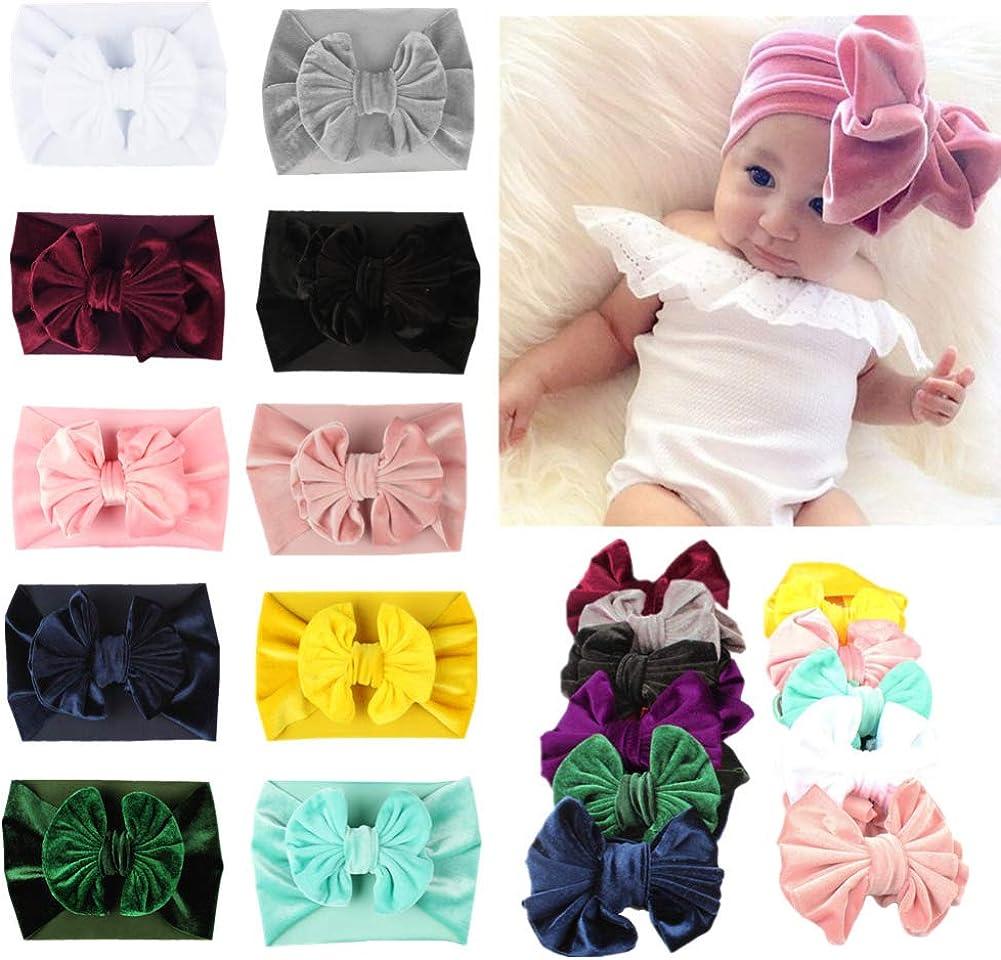 YICANG Baby M/ädchen Samt Bogen Stirnband Stretch weiches Kopftuch Turban Haarband Fotografie Requisiten
