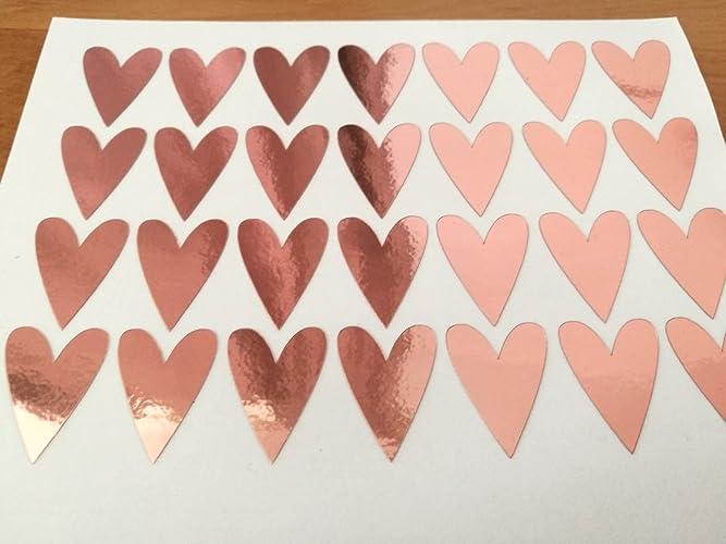 amazon com 20 rose gold foil heart stickers gold foil envelope