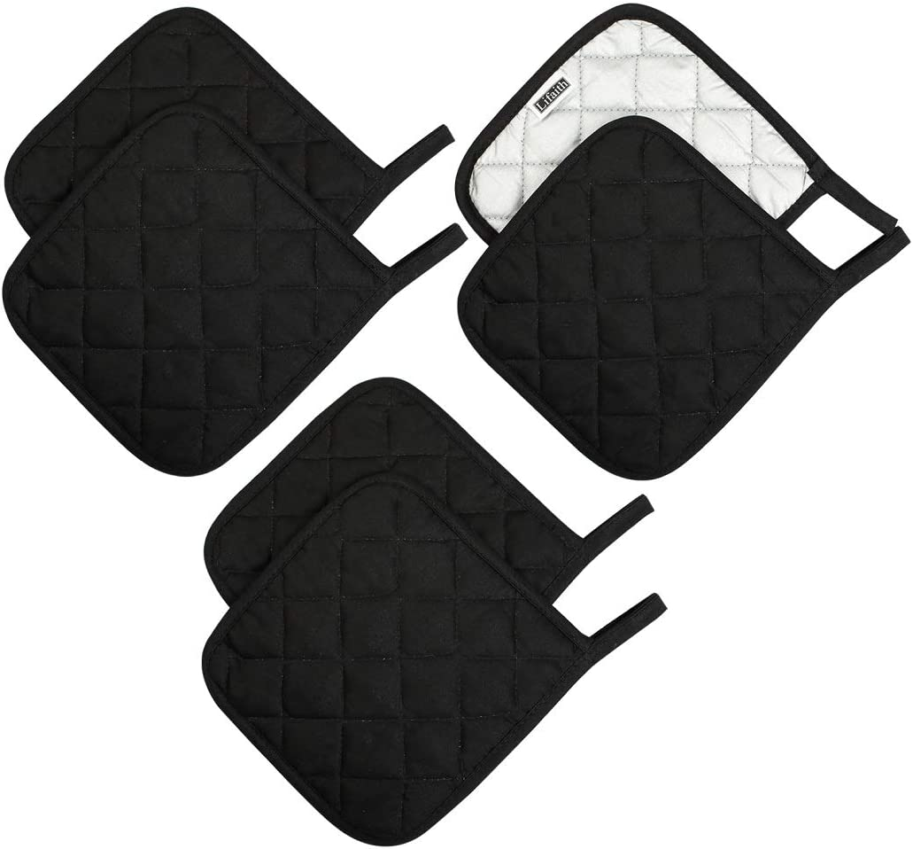 Lifaith 100% Cotton Potholders Kitchen Everyday Basic Terry Pot Holder Heat Resistant Large Coaster Hot Pads Kit Trivets Set for Cooking and Baking Set of 6 Black