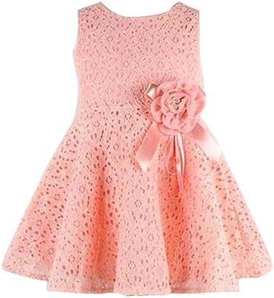 Newborn Girls Kids Princess Dresses Set Lace Short Sleeve Summer Button Clothes