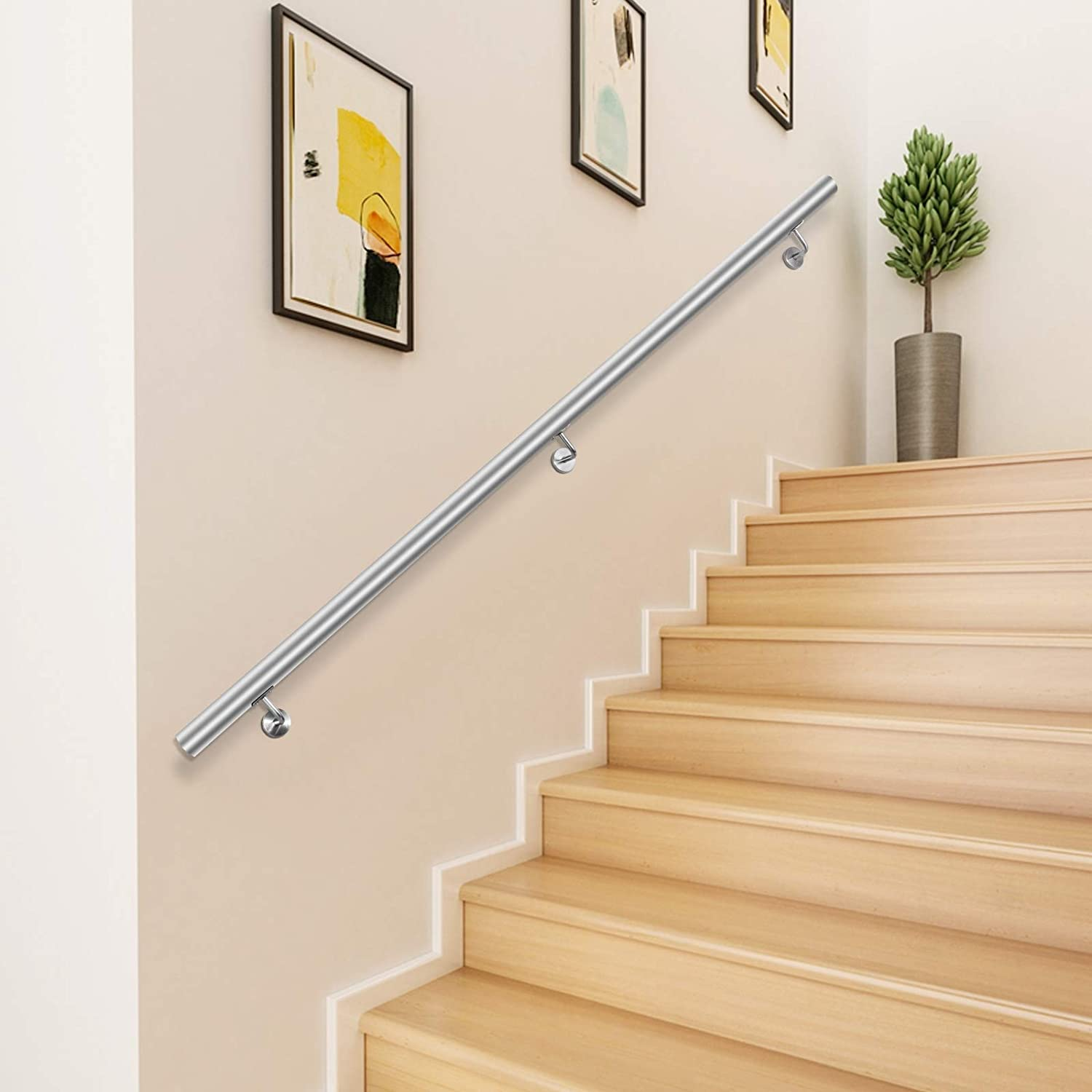 Happybuy 24 Feet Stair Handrail Stainless Steel Wall Stair Rail