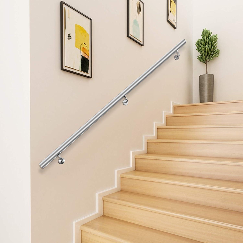 Happybuy 20 Feet Stair Handrail Stainless Steel Wall Stair Rail