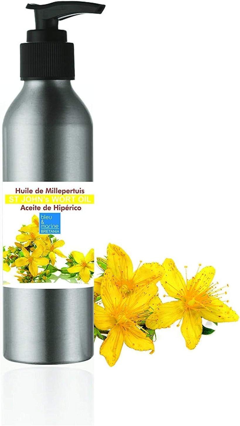 Aceite de masaje Hiperico, Aceite rojo de Hipérico Hierba de San Juan Muy Concentrado No cortado 100 ml 100% Puro Aceite Corporal Macerado en Aceite de Oliva, Vegan y no OGM