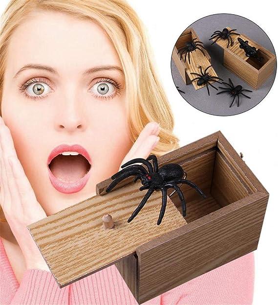Konesky Bo/îte de Peur Spider Prank Bo/îte /à Farce en Bois Jouets de nouveaut/é Gags Trick Play Joke Lifelike Surprise pour Les Cadeaux Pratiques du Poisson davril