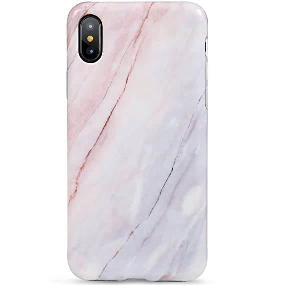 on sale 9d215 e85ad LUMARKE iPhone X Case,iPhone Xs Case,Cute Pink Grey Marble for Girls Women  Slim-Fit Glossy TPU Clear Bumper Flexible Soft Rubber Silicone Best ...