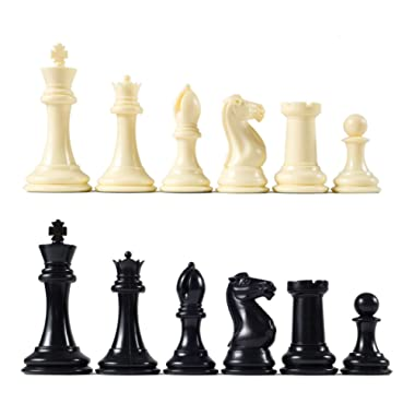 Premier Tournament Chess Pieces with 4 1/8  King - Ivory and Black