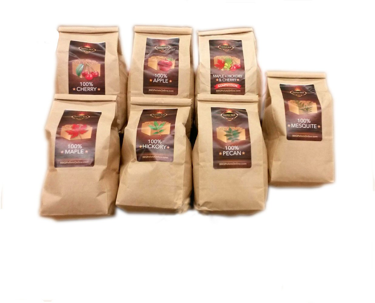 Lumber Jack BBQ 7 varieties BBQ Pellet Pack - 1 Lb. Bag - 100% (Apple, Cherry, Pecan, Hickory, Maple-Hickory-Cherry, Mesquite and Maple) - Shipped Priority Mail if Qty 1