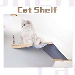 Scurrty Handcrafted Cat Wall Shelf Set Cat Hammock Cat Perch Wooden Scratching Post Step Modern Cat Wall Furniture