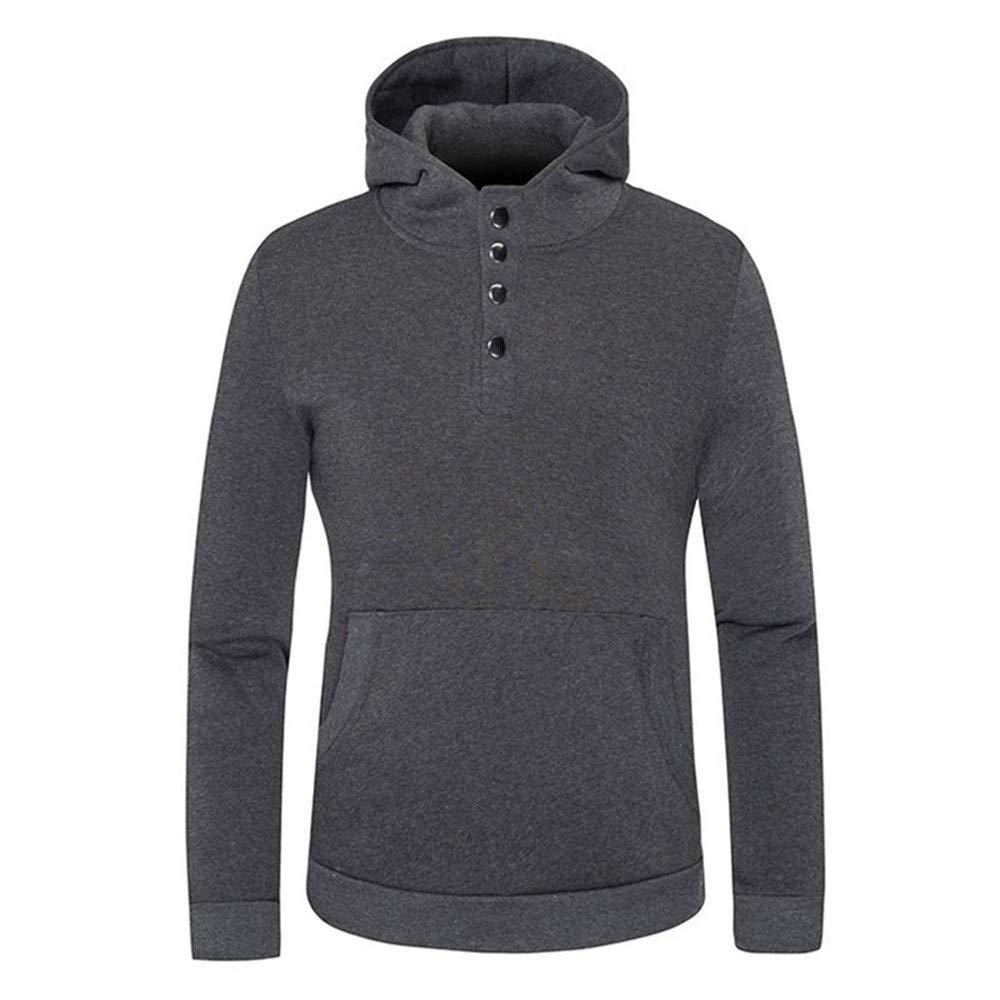 REYO Men's Jacket Clearance Sale Solid Long Sleeve Button Sweatshirt Hoodie Coat Hooded Top