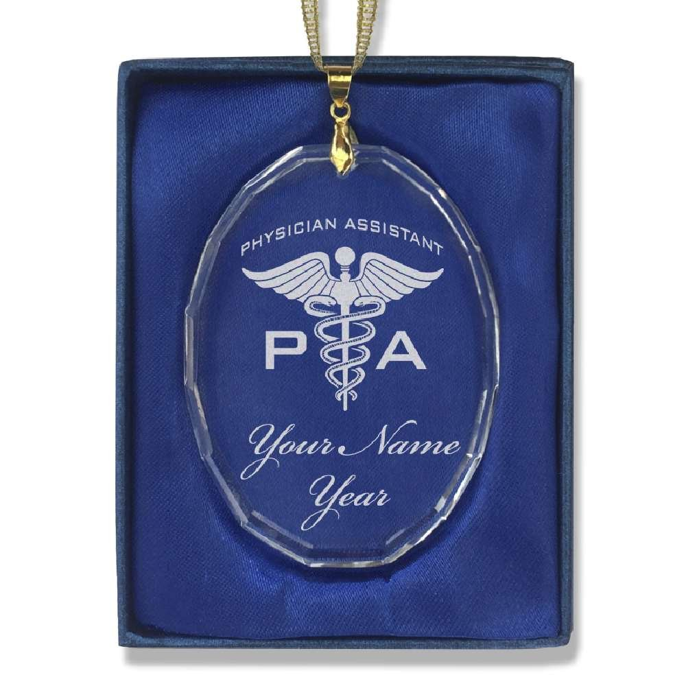 SkunkWerkz Oval Crystal Christmas Ornament - PA Physician Assistant - Personalized Engraving Included
