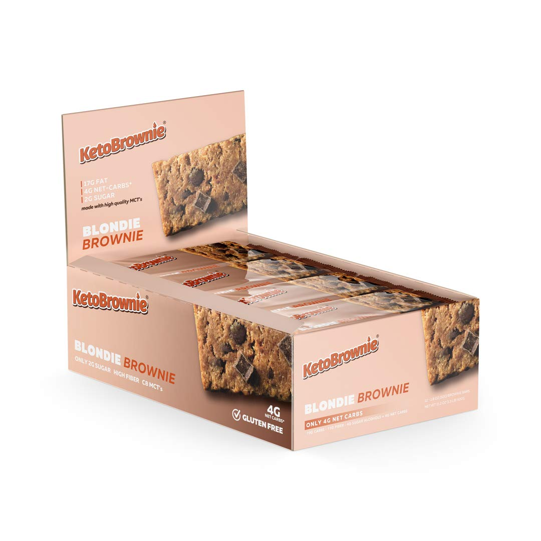 KetoBrownie Blondie Keto Brownies (12-Count) | Deliciously Baked Soft & Chewy | Brain Boosting C8 MCTs | 17g Healthy Fats | 4g Net-Carb Keto Bars | 2g Sugar | KetoLow-CarbDiabetic Friendly by KetoBrownie