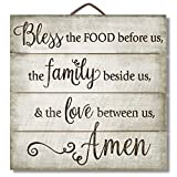 """Highland Graphics 12"""" Inspirational Sign """"Bless the Food Before Us..."""" Family Wall Decor"""