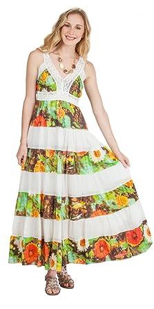 a0f2d757a2c9 Pink Apple Long Sleeveless Cotton Tiered Sundress at Amazon Women's ...